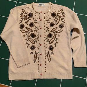Sweaters - Beaded Vintage Wool Cardigan